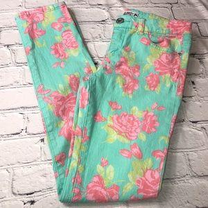 Celebrity Pink Girls Mint Green & Pink Floral Jean